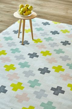 Cross your heart: 1.5 X 2.3 metres. Printed nylon. Please note that, as these printed rugs are mad...