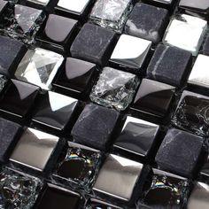 Metal & Glass Backsplash Diamond Crystal Tile Crackle Mosaic Stainless Steel Marble Stones MSG66B