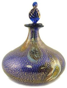 Murano Glass Perfume Bottle - Lapis and Gold
