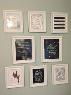 Peter Pan Wall Prints Gallery Wall in a Neverland Big Girl Room - super-sweet!