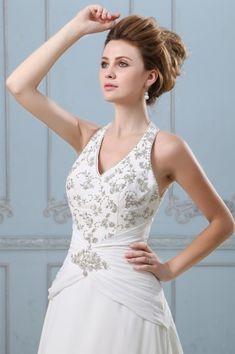 V-Ausschnitt A-Linie Applikation Knopfe Brautkleid aus Chiffon mit Hof-Schleppe