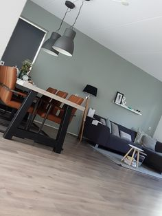 The wall is pebble green by Flexa. Brown cognac chairs and lending bakery table is own design with a scaffolding wood top. Ikea lamps and decoration Quantum Leenbakker action and the boulevard rnrnSource by svendullens Home Living Room, Home, Bedroom Design, House Interior, Home Deco, Room Colors, Interior Design Living Room, Interior Design, Home And Living
