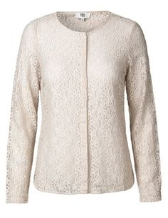 Long-sleeved blouse with lace details - Powder