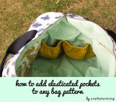 How to add elasticated pockets to any bag pattern - tutorial by Craftstorming