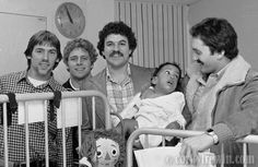Jim Zorn, Steve Largent, Sam Adkins and Steve Raible visit Children's Hospital in 1980.