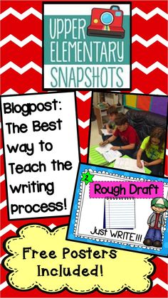 Do your students struggle learning the writing process? This blog post will give you ideas and tips to help make your students shine in writing! Free Writing Process posters are included too! Upper Elementary Snapshots is a blog designed by 12 teachers willing to share their expertise in the classroom! Don't miss out!