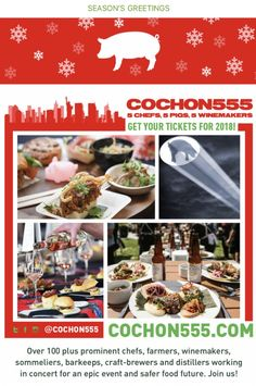 Gift Reminder🎅🏼🐖 Are tickets to #Cochon555 in 2018 at the top of a special someone's holiday gift list? Get them a gift🎁that touches the heart❤️ and fills their belly!! — 2018 US Tour Tickets, info, merch and trailers 🎬 —> Cochon555.com