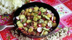 Kesäinen pyttipannupaistos - Reseptit - Ilta-Sanomat Bratwurst, Kung Pao Chicken, Sprouts, Potato Salad, Potatoes, Vegetables, Cooking, Ethnic Recipes, Food