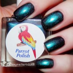 "The Parrot Polish colors used are ""Gorgeous Black"" and ""Smaragd Green"""