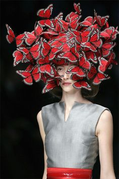 Alana Zimmer on the runway for Alexander McQueen, S/S 2008. Butterfly headpiece by Philip Treacy.