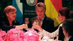 La canciller alemana y Mauricio Macri brindaron una conferencia antes de la cena