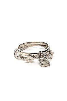 Cubic Zirconia & White Gold Ring Set