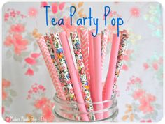 Pink Chevron & Flower Mixed Paper Straws (Tea Party Pop) Weddings Parties Showers Gifts Pink Party Pink Wedding Pink Shower #Pink #Wedding #PinkWedding #Paper