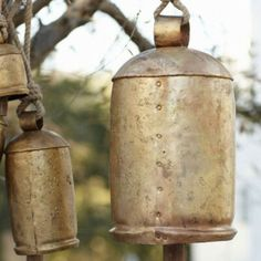 with these gold temple bells. Fitted with wooden clackers and made from rustic brass-plated steel, these dulcet-toned bells shimmer like burnished gold and resonate deep in the soul like Buddhist chants. Temple Bells, Ring My Bell, Goat Farming, Colorful Decor, Decorative Bells, Wind Chimes, Wall Decor, Sweet Home, Outdoor Decor