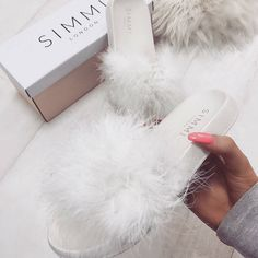 """9,094 Likes, 90 Comments - WWW.SIMMI.COM (@simmishoes) on Instagram: """"All white fluffy slides Shoes: Nori - £20.00 Shop: simmi.com #SIMMIGIRL"""""""