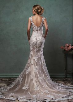 Buy discount Stunning Tulle V-neck Natural Waistline Mermaid Wedding Dress With Lace Appliques at Magbridal.com