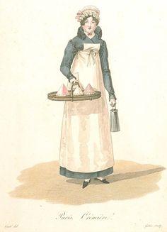 """""""Paris. Seller of Creams.""""Les Ouvrieres de Paris, 1816-1818"""