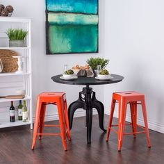 Tabouret 24-inch Tangerine Metal Counter Stools (Set of 2) - Free Shipping Today - Overstock.com - 14204126 - Mobile