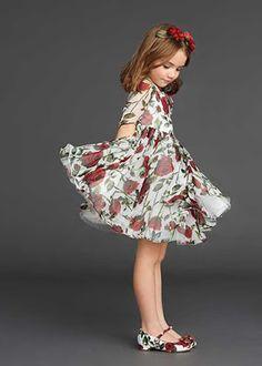 Gül desenli kız çocuk elbise (Dolce Gabbana)