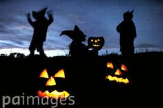 Youngsters prepare for Halloween near the Scottish town of Peebles.  In years gone by, carved pumpkins were believed to scare away evil spirits during a religious festival which has its roots in long-standing pagan traditions.