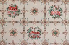 1940's Vintage Wallpaper Red Houses Geometric Medallions