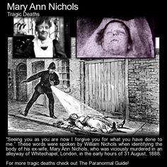 """"""" These words were spoken by William Nichols when identifying the body of his ex-wife, Mary Ann Nichols, who was viciously. Short Scary Stories, Scary Ghost Stories, Unusual Facts, Weird Facts, Trafalgar Square, Mary Ann Nichols, Scary Films, Paranormal Photos, Post Mortem Photography"""
