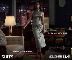 New Suits fashion! Jessica sticks to her sartorial guns with power dresses and skirt suits from Victoria Beckham, Christopher Kane and Roland Mouret.