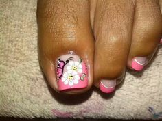 Manicura y Pedicure Designs, Pedicure Nail Art, Diy Nail Designs, Nail Spa, Toe Nail Color, Toe Nail Art, Nail Polish Colors, Summer Toe Nails, Spring Nails