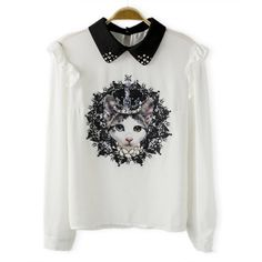 Kitten Print Beaded Ruffled Splicing Turn-Down Collar Long Sleeve Stylish Women's Blouse