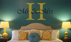 20h x 24w Mr & Mrs Initial Personalized Wall by AKMVinylDesigns - so cute!
