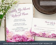 Floral Wedding Invitation DIY Printable Wedding Invitations Rustic Shades Purple Pink Peonies Invites Calligraphy Script Digital Printable by NotedOccasions