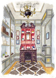 I used to do and teach Interior Design  Presentation Drawings; this is a classic one point perspective dwg.  I'd give it an A!