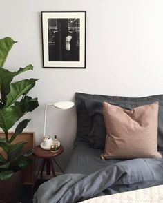 Our first full week back since Christmas is coming to a close and were looking forward to climbing into bed for a quiet weekend. Happy Friday everyone! :: Our bedroom inspo is coming from this beautifully cosy shot by @hegeinfrance  were in love with the colour palette! :: Fancy getting the look? Get 15% OFF the Muuto Leaf Table Lamp online at Utility when you use the code EXTRASALE
