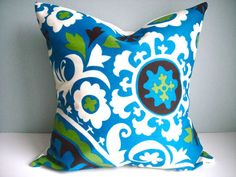 What a fun way to add color to your space, Love the vibrant color and pattern of this fabric. This designer pillows will be perfect for your indoor or outdoor furniture. The front fabric is 100% Spun Polyester it has a stain and water repellent finish. The back is covered in Duck fabric, with envelope closure. This is one of the inexpensive way to add color to your furniture.This pillows can also be place on those built in benches.