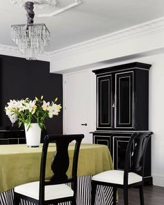 Black And White Dining Room Living