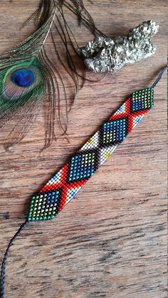 Your place to buy and sell all things handmade Bead Loom Patterns, Bracelet Patterns, Beading Patterns Free, Bead Jewellery, Beaded Jewelry, Handmade Jewellery, Seed Bead Art, Sacred Geometry Tattoo, Bead Loom Bracelets