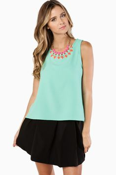 ShopSosie Style : Sweet And Scalloped Tank Top in Mint
