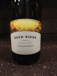 2011 Eden Ridge Chardonnay - Mendocino County - Deep straw yellow with notes of oak, butter, and toast. On the palate, it's dry with oaky buttery notes and a creamy smooth mouthfeel. A very nice chardonnay. Buy at $12 (store)