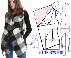 Casaco xadrez feminino - Moldes Moda por Medida