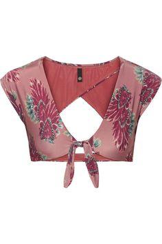 Vix - Birds Printed Cutout Bikini Top - Plum -
