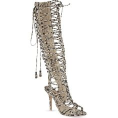 SOPHIA WEBSTER Clementine knee-length gladiator sandals ($1,245) ❤ liked on Polyvore featuring shoes, sandals, nude, strappy sandals, high heel sandals, lace up high heel sandals, greek sandals and open toe sandals