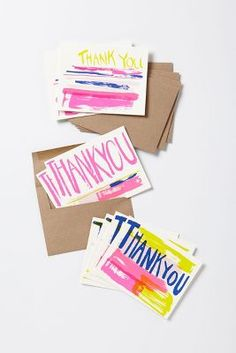 Neon thank you notecard set