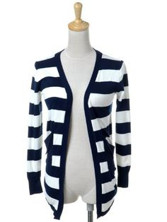 Anna-Kaci S/M Fit Blue and White L/S Open Draped Long Striped Pocketed Sweater Anna-Kaci. $20.90