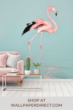 A digitally printed mural designed by interior designer Andrea Haase. An elegant flamingo traverses peaceful, shallow waters.