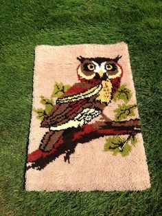Owl Bird Latch Hook VINTAGE RUG PILLOW Hanging Handmade Retro Mid Century