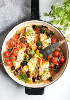 Easy One Pan Mediterranean Cod. A super healthy dinner, cooked all in one pan and ready in 30 minutes! Paleo, Gluten Free, Pescatarian, and Whole 30 Super Healthy Recipes, Healthy Foods To Eat, Healthy Eating, Fish Recipes, Seafood Recipes, Cooking Recipes, Cooking Hacks, Paleo Recipes, Diet Dinner Recipes