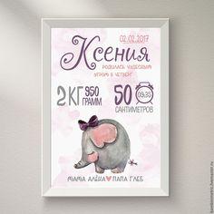 Купить Детская метрика постер - белый, метрика, Метрика для девочки, метрика на заказ, метрика детская
