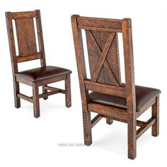 Weathered Wood Dining Side Chair If you're looking for a bit of rustic punch to update your home, lodge, or cabin dining room, these barn door style dining chairs will be a great addition. Rustic Kitchen Chairs, Farmhouse Chairs, Wooden Dining Chairs, Rustic Chair, Rustic Furniture, Rustic Wood Bed, Rustic Kitchens, Painted Chairs, Furniture Logo