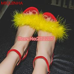 Multicolor Suede Leather Furry Feather Women Sandals Open Toe Ankle Strap Buckle Low Chunky Heel Gladiator Sandals Shoes Woman