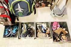 each kid gets their own bin of shoes